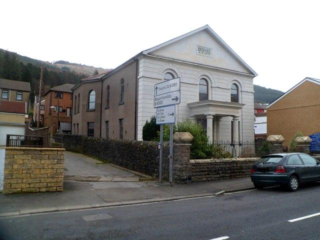 Side view of Grade II listed Bethany Baptist Church, Treherbert