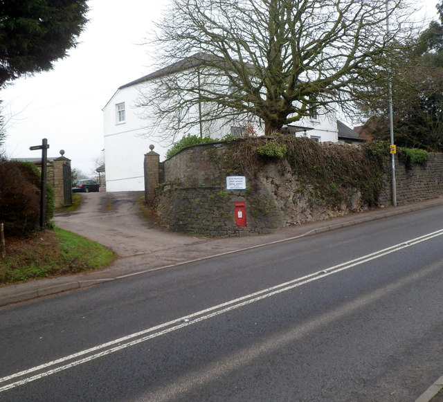 Wall postbox on the corner of Pwllmeyric House