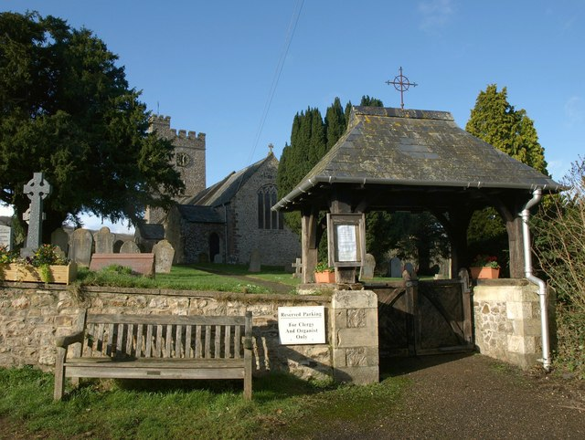 Lych gate and church, Combe Raleigh