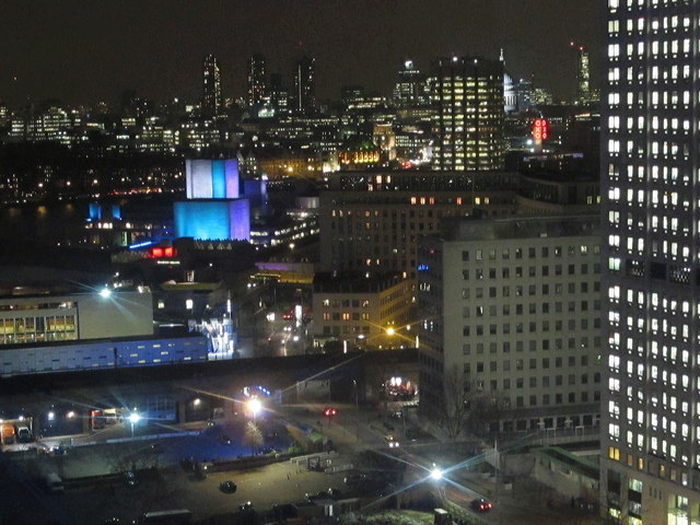 Shell Centre and National Theatre from London Eye by night