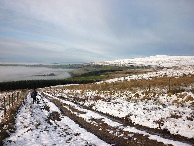 Heading for Gamblesby across Moor Thwaite