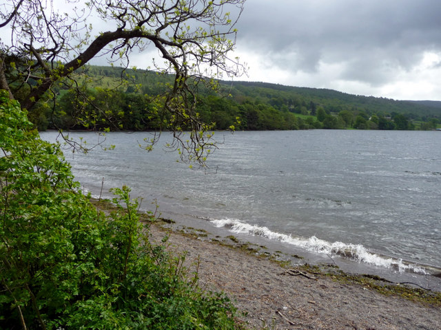 Wave breaking on edge of Coniston Water, Cumbria