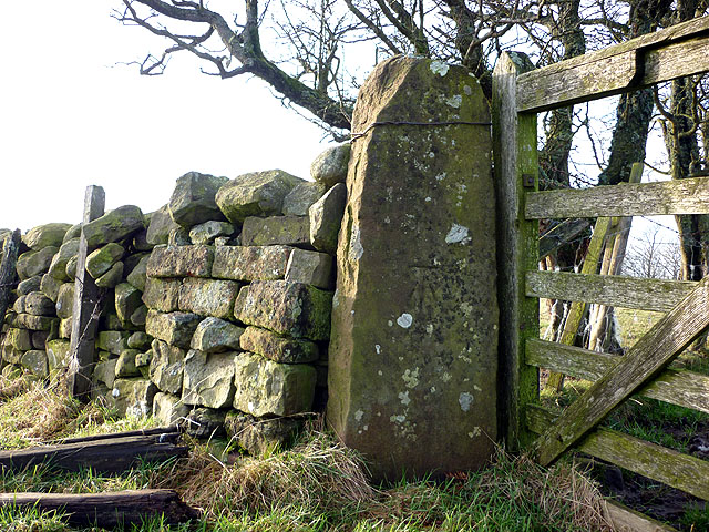 Bench mark on gatepost, track above Gamblesby