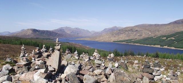 Intricate cairn next to Loch Loyne