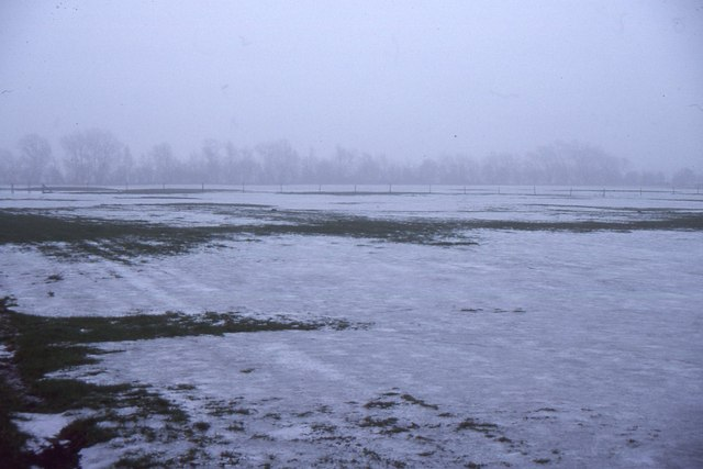 Flooded and frozen fields, upper Thames valley