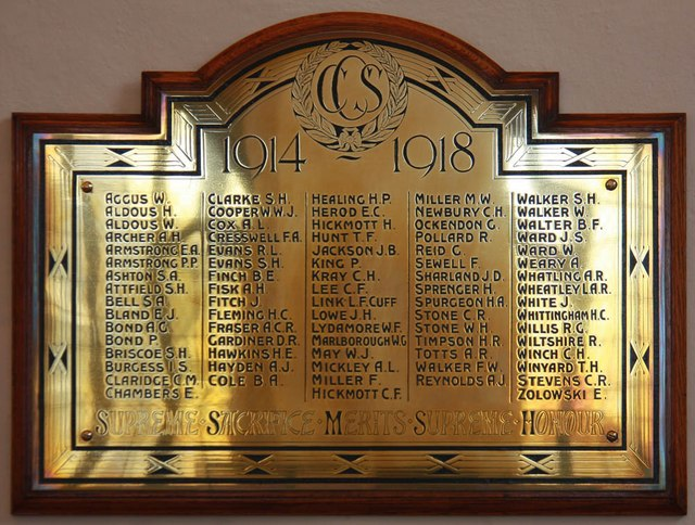 St Margaret of Antioch, Balfour Road, Ilford - War Memorial WWI
