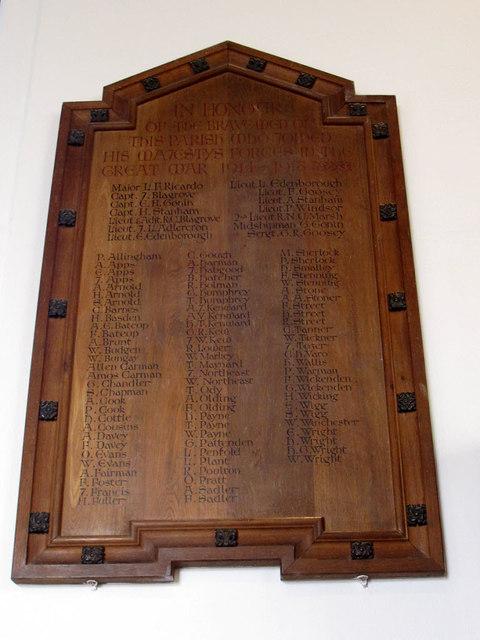 St Bartholomew, Burstow: war memorial