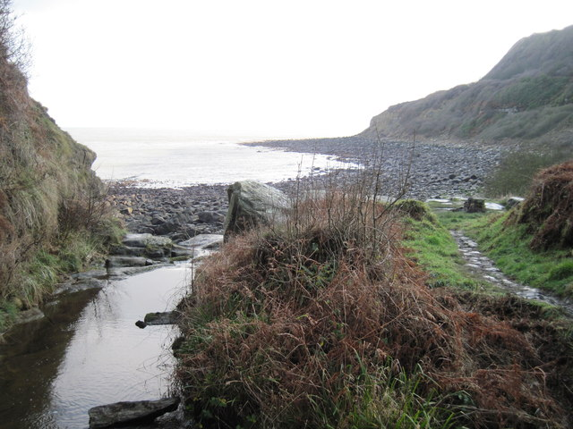 Hayburn  Wyke  Beck  meets  the  North  Sea