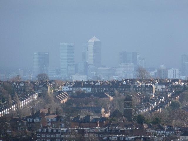 Alexandra Palace: a winter view towards Canary Wharf