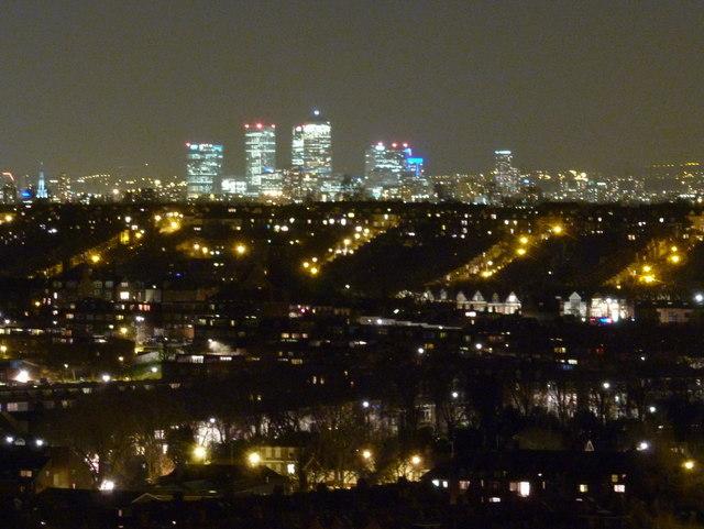 Alexandra Palace: Canary Wharf view by night
