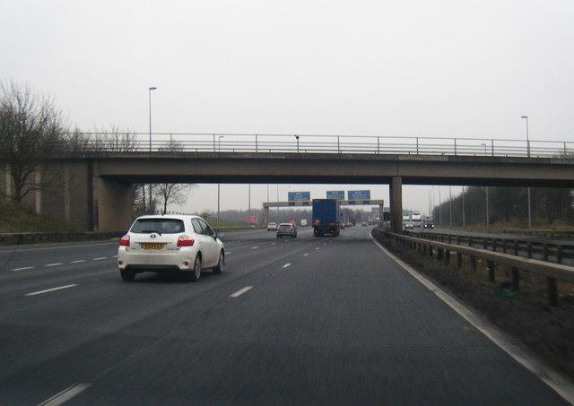 M56 westbound at Stoak interchange