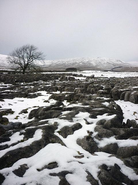 Snow covered limestone pavement, Fell Close