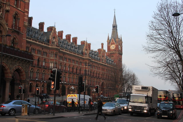 St Pancras Station and Euston Road