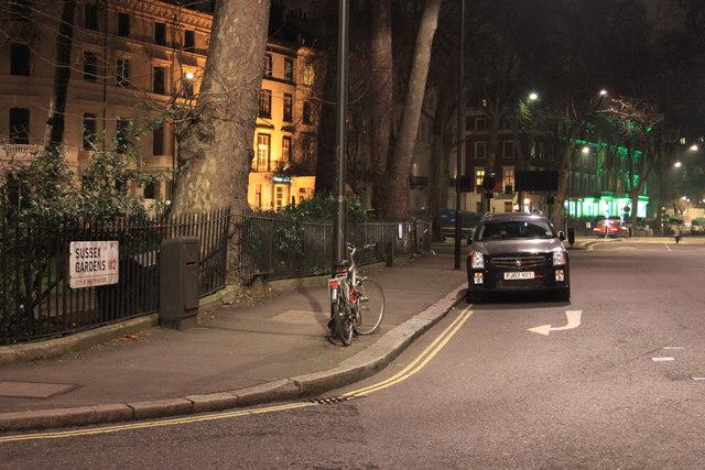 Sussex Gardens at night