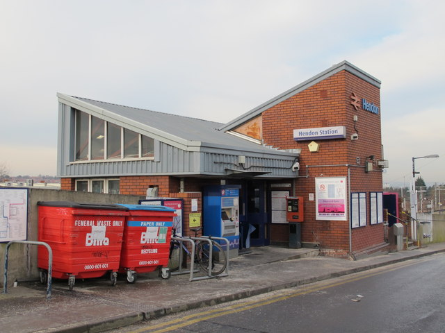 The entrance to Hendon Station, off Station Road, NW4