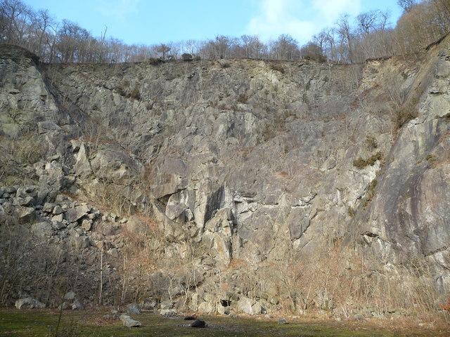 Quarry face on Moel y Golfa
