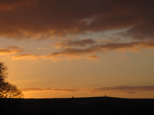 Sunset over the Allendale lead smelting flue chimneys