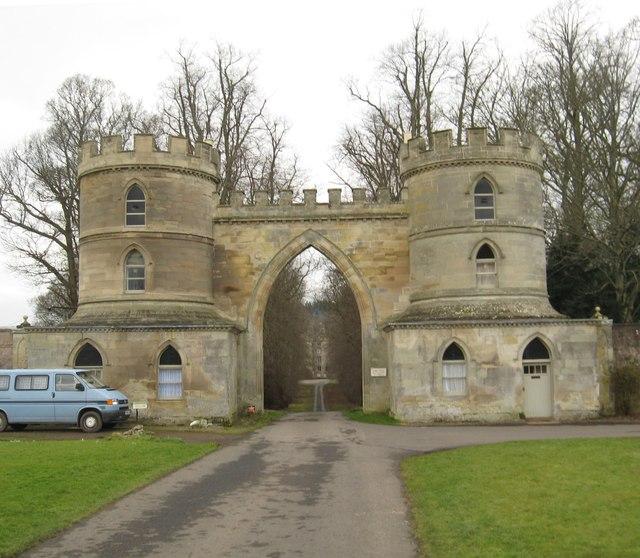 The grand estate entrance to Duns Castle