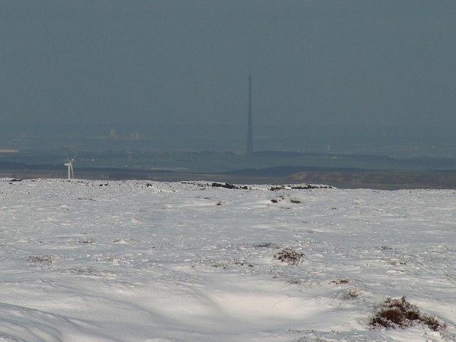 View from Howden Moor towards the Emley Moor mast