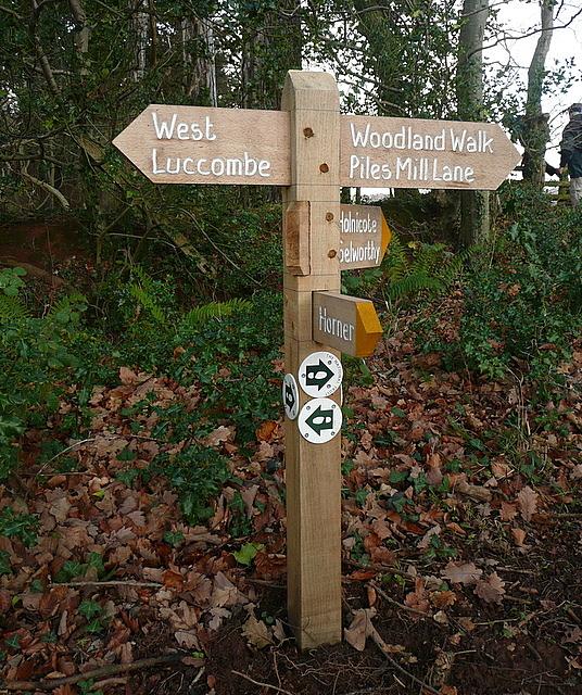 Signpost at Lower Horridge Wood