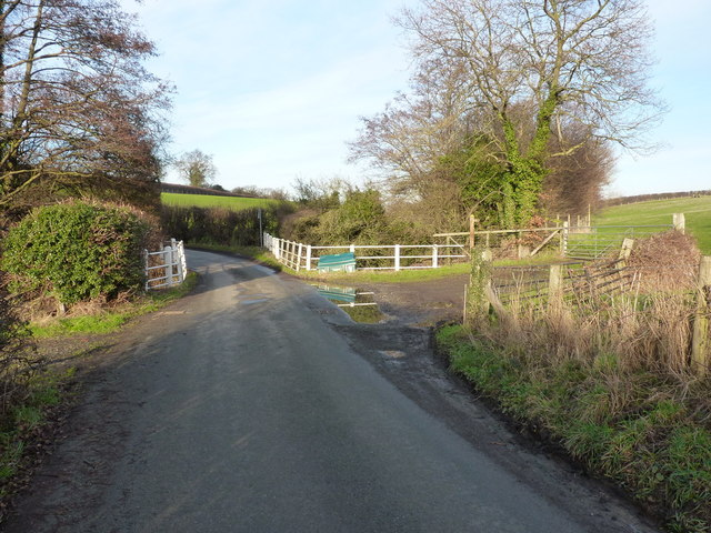 A country lane and a bridge over the Hook-a-Gate brook