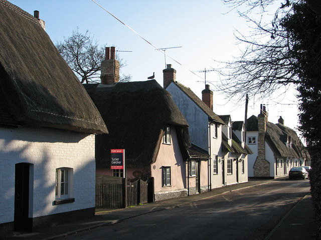 Pampisford High Street in February