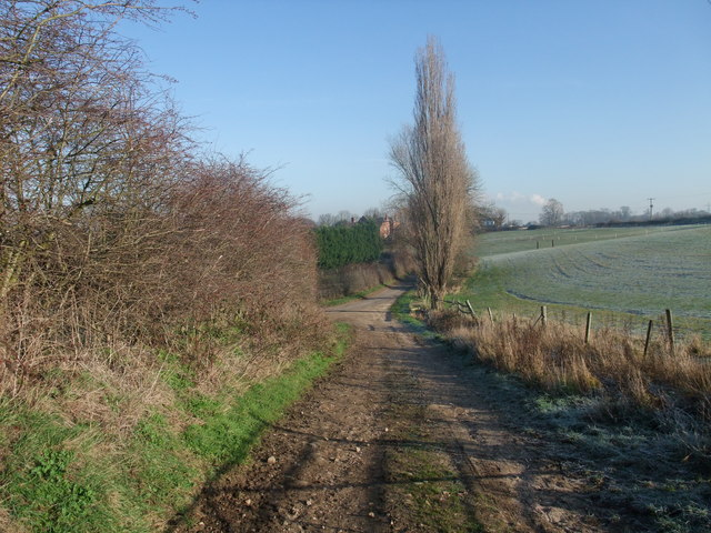 Track from Wood End Cottage approaching Stanton by Bridge