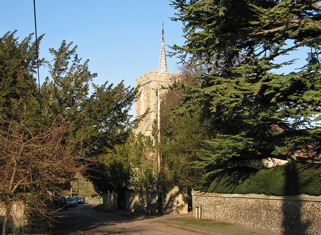 Pampisford: High Street and church tower