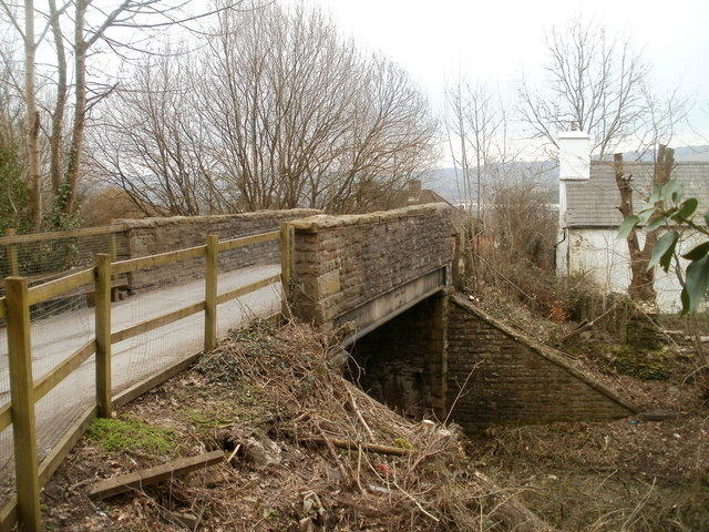 Side view of a road bridge across a dismantled railway, Bedwas