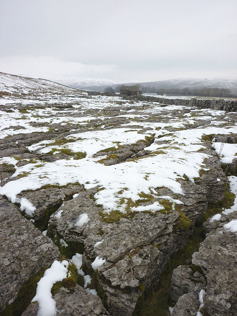 Snow covered limestone pavement near Rigg Barn