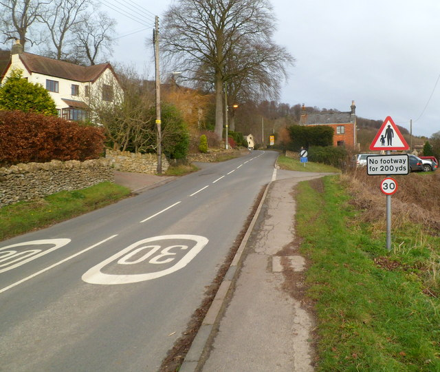 No footway for 200 yards, Slad