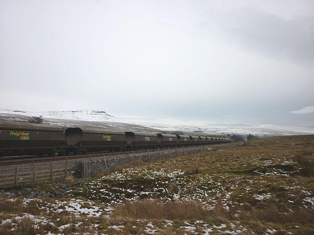 Train crossing Far Moor on the Settle Carlisle line south of Selside
