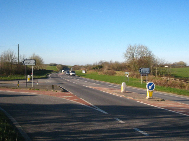 Junction of the A3078 with the A390 at Trevorva