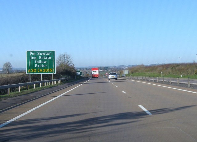 A30 approaching Exeter
