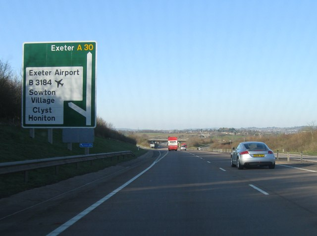 Turning for Exeter Airport, A30