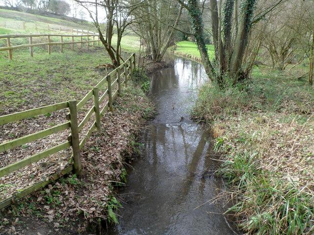 Slad Brook flows SW through the Slad valley