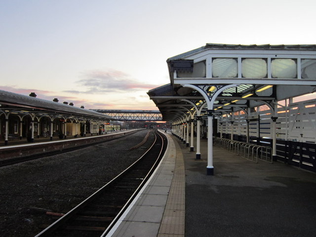 Selby train station at dusk
