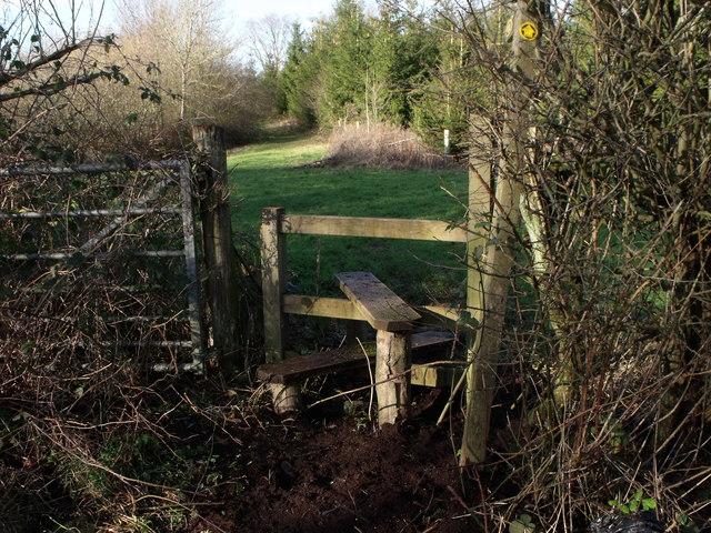 Stile for public footpath near Brightling