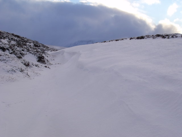 Snowed-up re-entrant north-east of An Lurg near Glenmore