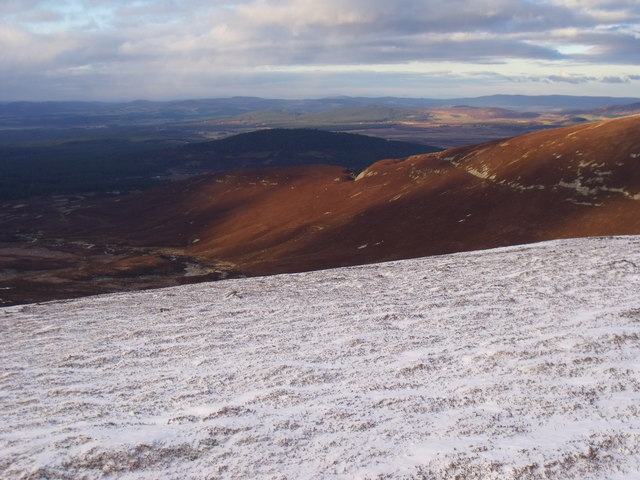View north-east from the north shoulder of An Lurg near Glenmore