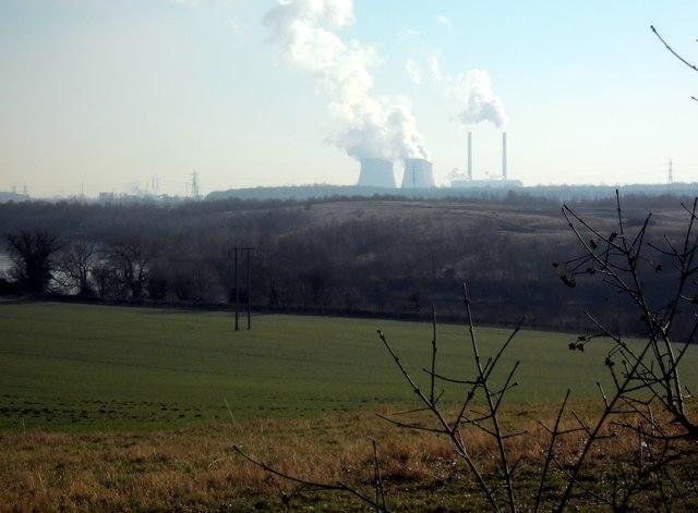 Ferrybridge Power Station viewed from Newfield plantation