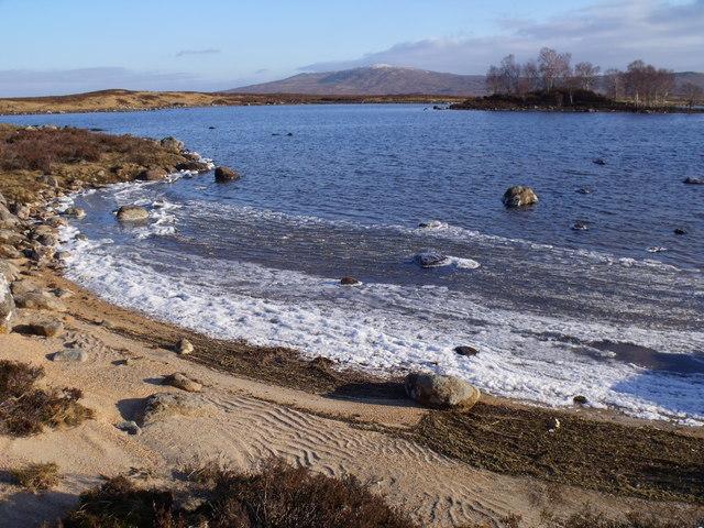 Wind-blown ice crush on the shore of Loch Ba on Rannoch Moor