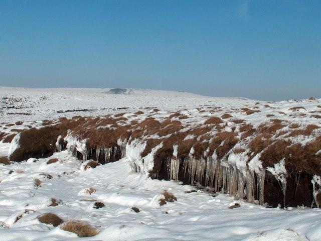 Winter on the moorland ridge above Alportdale