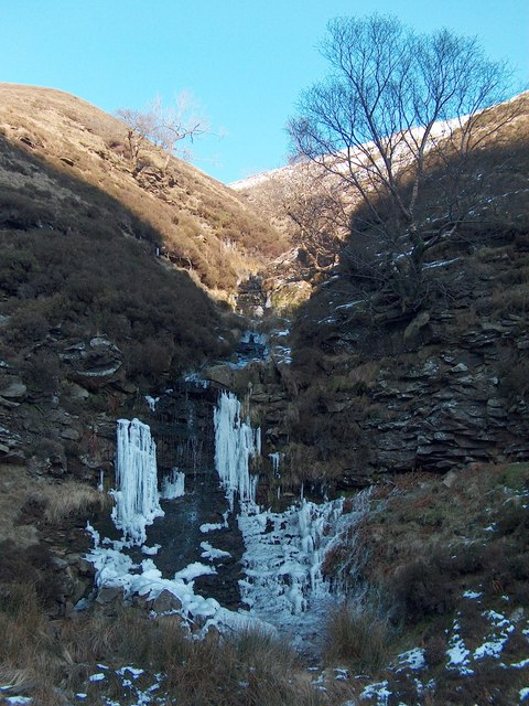 Miry Clough frozen waterfall in Alportdale