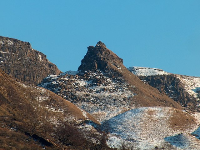 The Tower, Alport Castles viewed from the upper Alport valley