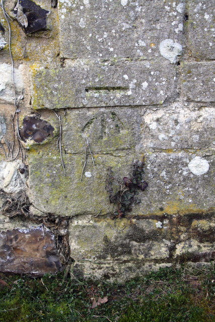 Benchmark on bridge wall, Castle Lane