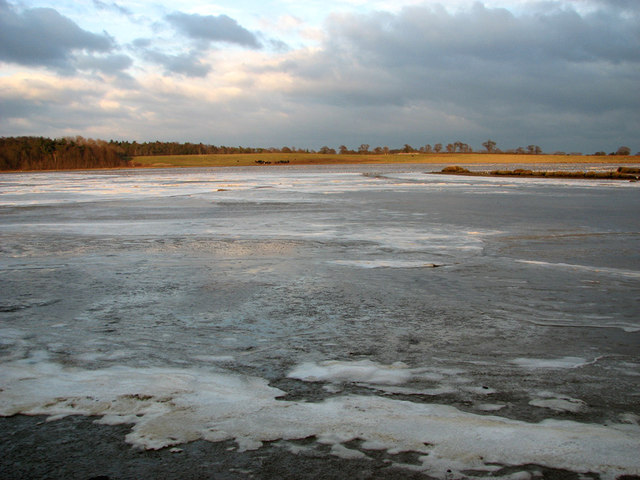 View across the frozen Sandpit Covert Marshes, Blythburgh