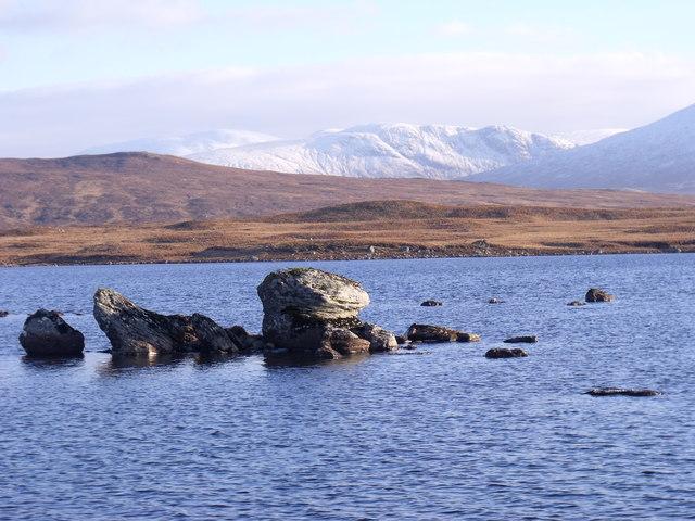 Rocky protuberence in Loch Ba on Rannoch Moor