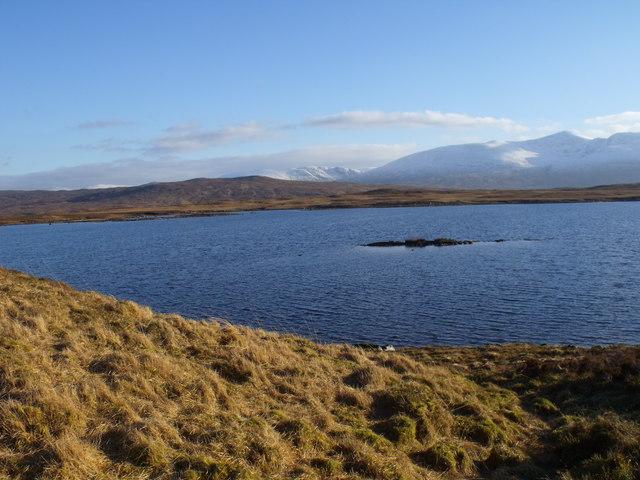 Mini islet in Loch Ba on Rannoch Moor
