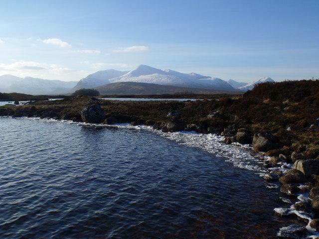 Ice-lined north shore of Loch Ba on Rannoch Moor
